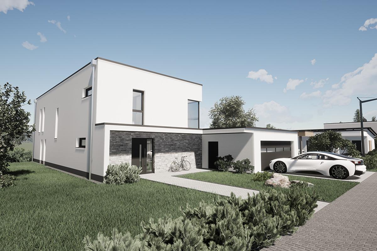 Rendering Wohnhaus mit Auto