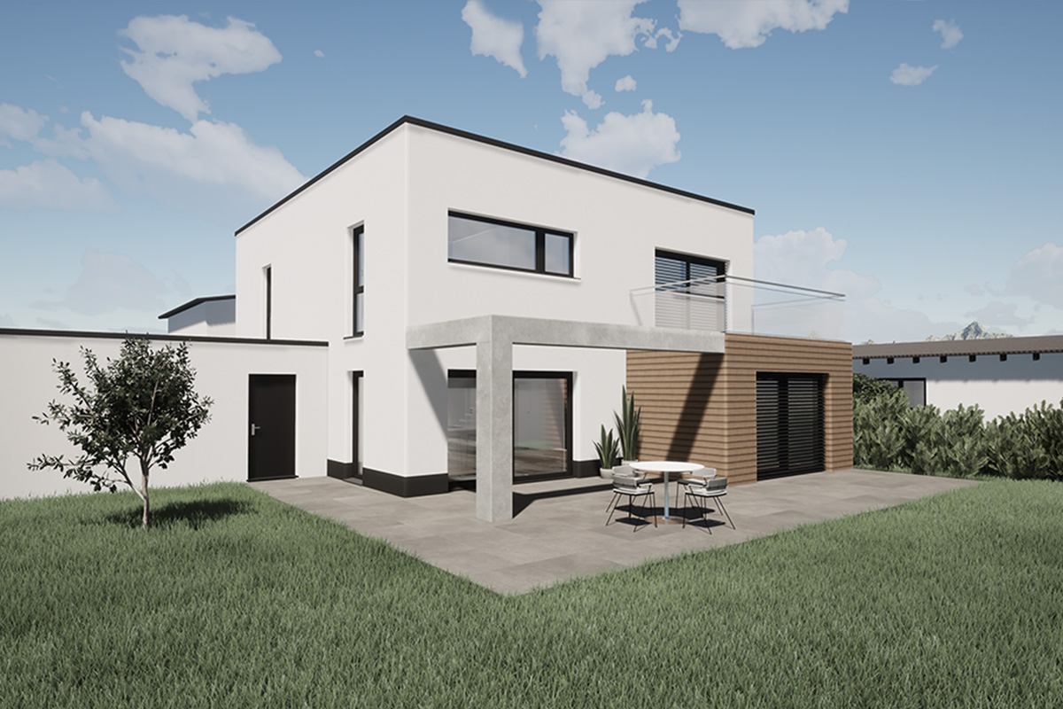 Rendering Wohnhaus mit Terrasse und Garten