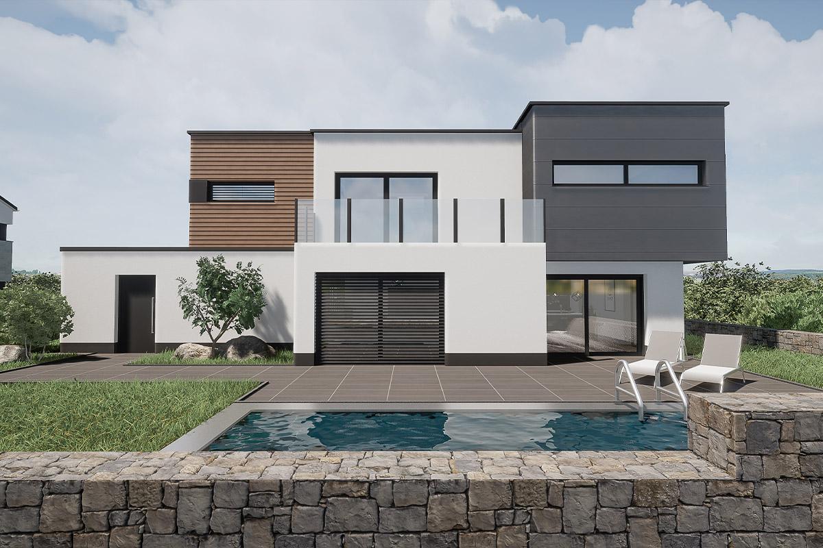 Rendering Wohnhaus mit Pool